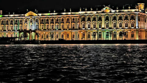 Night Hermitage Museum Footage