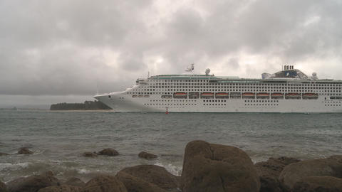 cruise ship enters harbour Stock Video Footage