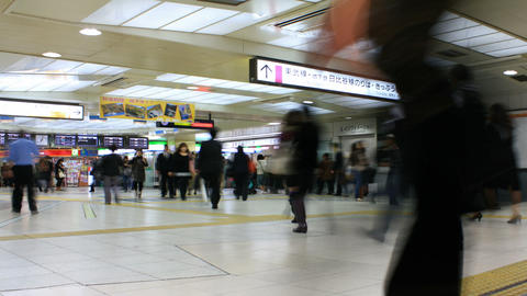 Busy Subway Station in Tokyo, Japan - Time Lapse HD Stock Video Footage