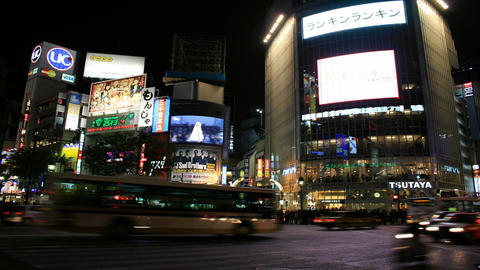 Busy Crossroads in Shibuya - Tokyo, Japan Time Lapse Stock Video Footage