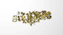 Falling Golden Success Letters Breaking Into Pieces Stock Video Footage