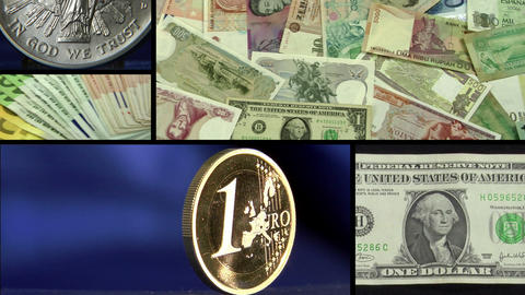 dollar euro money montage Stock Video Footage