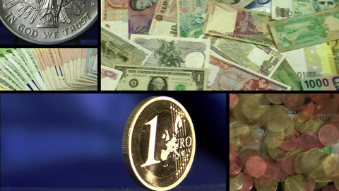 dollar euro money montage Stock Video Footage