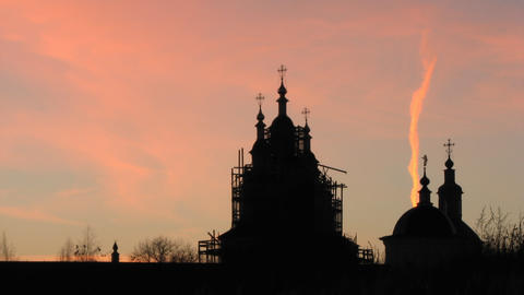 Restored Church Against the Sunset Sky Footage