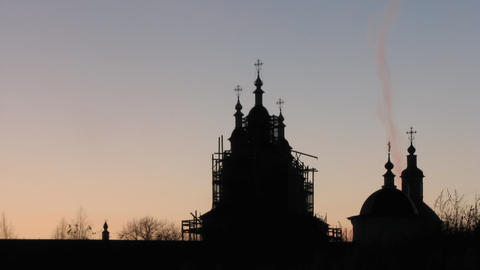 Restored Church Against the Sunset Sky Stock Video Footage