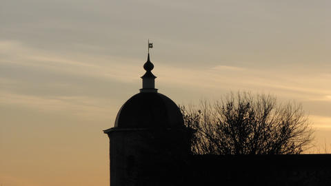 Tower Against the Setting Sun Stock Video Footage