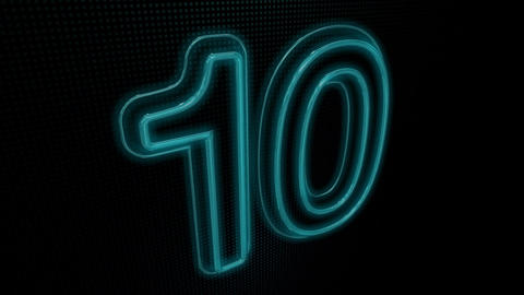 Countdown Neon On Blue Stock Video Footage