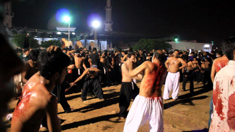 Ritualistic Self Flagellation at Ashura Festival in Karachi, Pakistan Footage