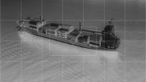 infrared container ship from helicopter somalia piracy Stock Video Footage