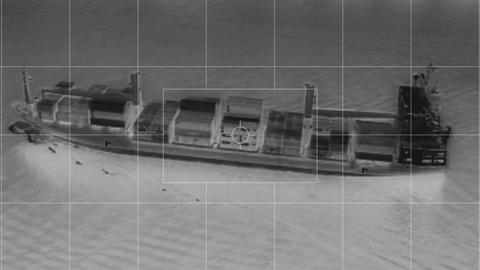 infrared container ship from helicopter somalia piracy Footage