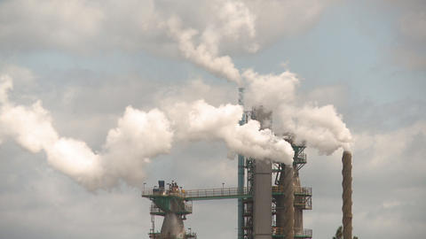 Smoke stacks pulp mill Stock Video Footage