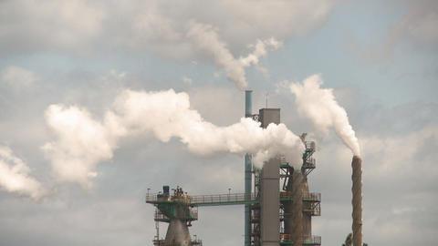 Smoke stacks pulp mill Footage