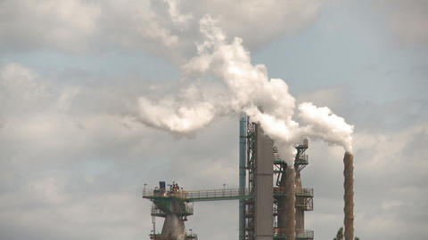 Smoke stacks pulp mill Stock Video Footage