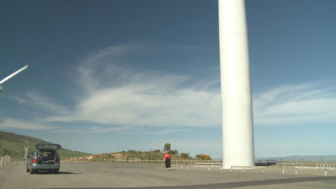 Large wind turbine tilt up shot Stock Video Footage