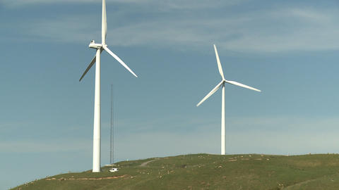 Wind Turbines and a service van Stock Video Footage