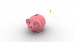 Pink moneybox growing with each coin inserted Stock Video Footage