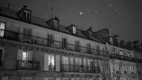 First snow in Paris Stock Video Footage