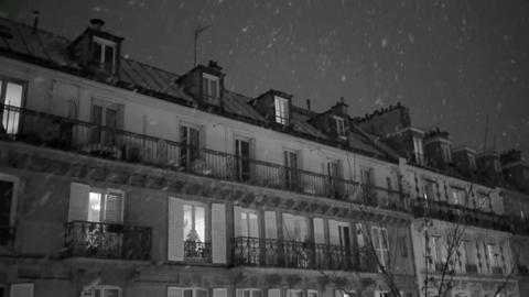 First snow in Paris Footage
