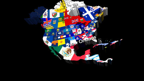 3D USA Map with State Flags zooming into New Orleans Stock Video Footage