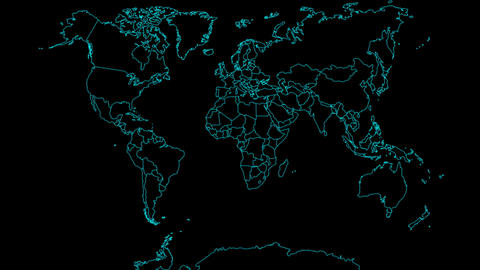 Globe Map Outline Stock Video Footage