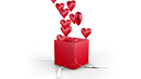 Gift Box Opens and hearts fly Stock Video Footage