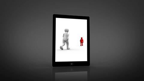 White and red characters walking displayed on digital tablet Animation