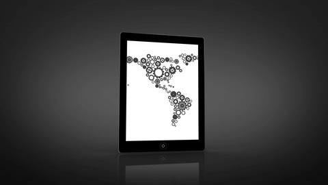 Earth made of cogs and wheels montage displayed on tablet screen Animation