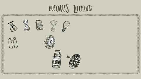 Business elements doodle appearing Animation