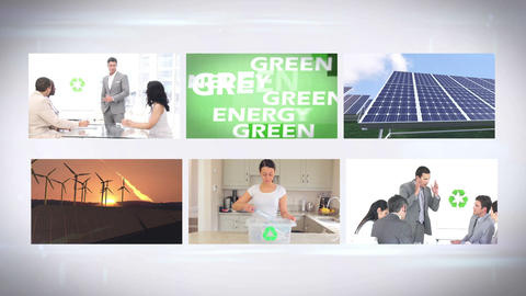 Environmentalism montage at home and in business Animation