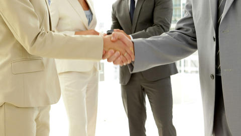 Business people shaking hands and talking Footage