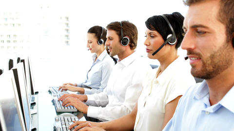 Smiling customer service agents working Footage