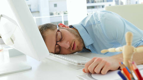 Attractive businessman sleeping Footage