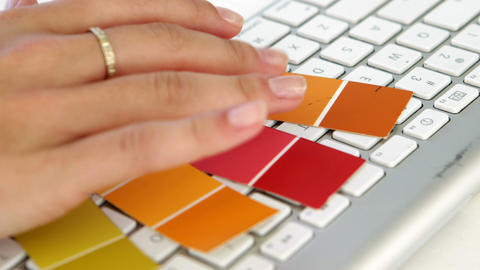 Close up of married woman choosing colours Footage