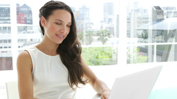 Brunette businesswoman typing on her laptop Footage