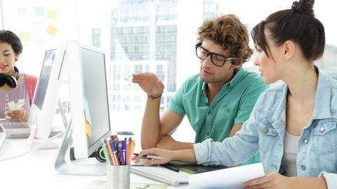 Attractive Creative Designers Talking To Each Othe stock footage