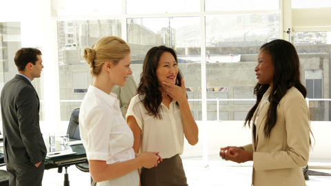 Businesswomen talking together Stock Video Footage