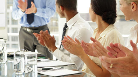 Business people clapping at presentation Stock Video Footage