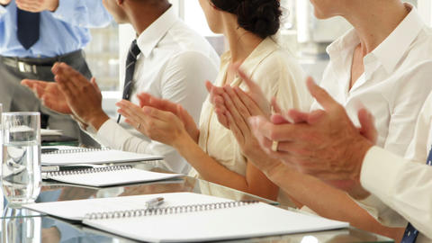 Business people clapping at presentation Footage