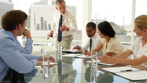 Businessman explaining bar chart to staff Stock Video Footage