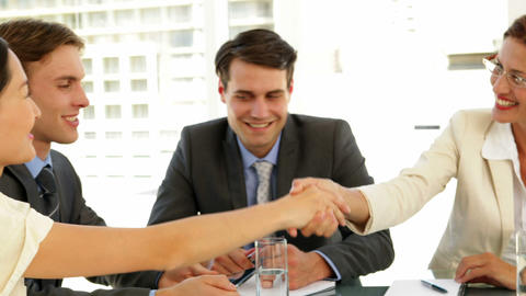 Businesswomen shaking hands at interview Footage