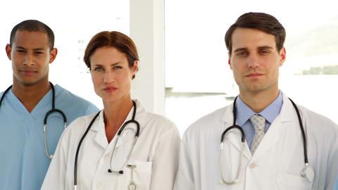 Medical team standing in a row Stock Video Footage