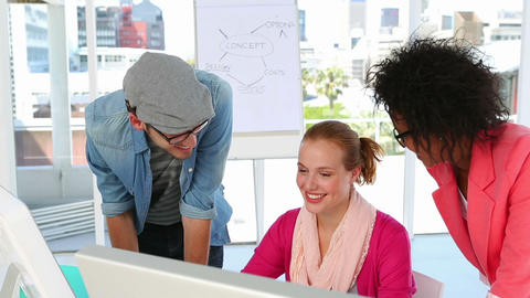 Creative team working together happily Stock Video Footage