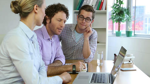Business team using laptop and planning Stock Video Footage