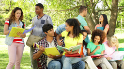Happy students reading and chatting together outside on... Stock Video Footage