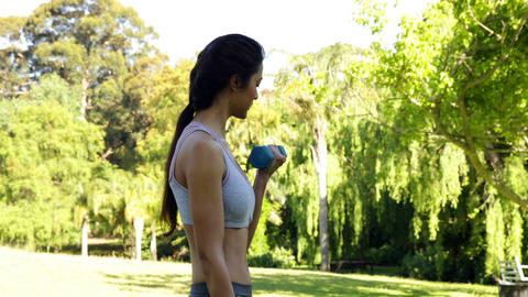 Gorgeous fit brunette lifting dumbbells in the park Stock Video Footage