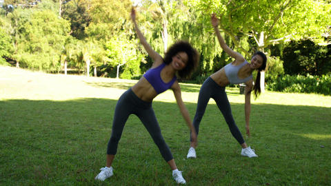 Smiling fit friends stretching in the park Stock Video Footage