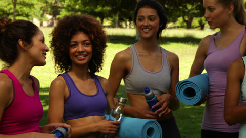 Fitness class chatting before their workout in the park Stock Video Footage