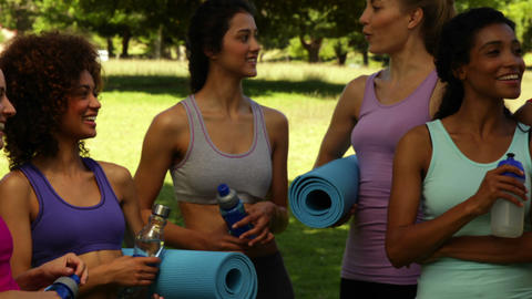 Fitness class chatting before their workout in the park Footage