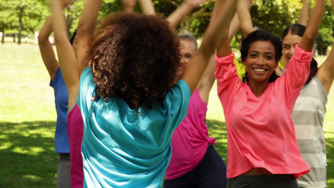 Zumba class dancing in the park Stock Video Footage