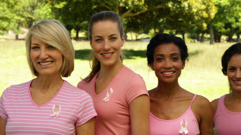 Diverse happy women wearing pink for breast cancer awareness in the park Footage